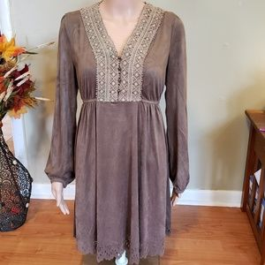 Faux suede boho hippy dress